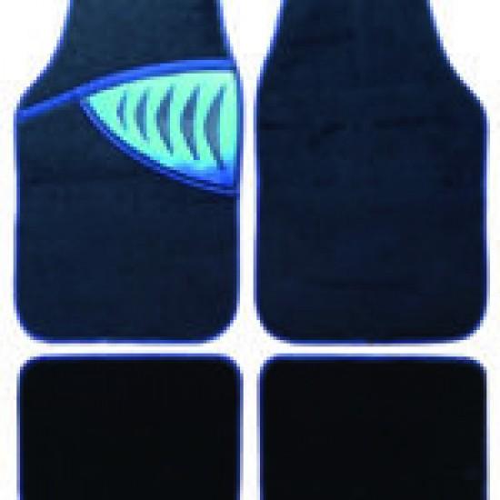 Set 4 covorase tip mocheta cu model albastru