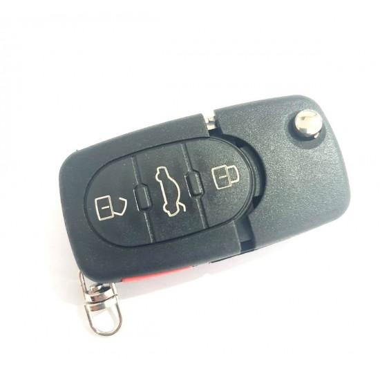 Carcasa cheie Audi 3 but rotunde +1 buton panica