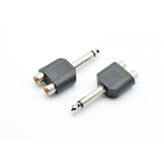 Adaptor jack 6,3mm la 2 RCA mama