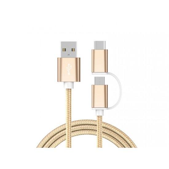 Cablu textil 2in1 microusb/USB tip C auriu