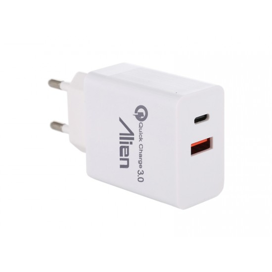 Incarcator priza 2.4A QC3.0 USB+tip C